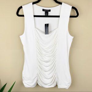 WHBM ~ White Sleeveless Blouse Size Medium